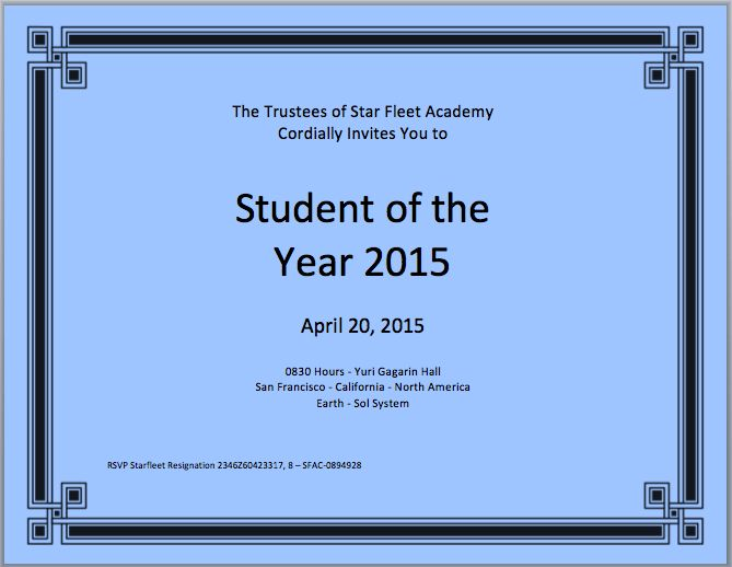 Student of the Year Certificate Template – Microsoft Word Templates