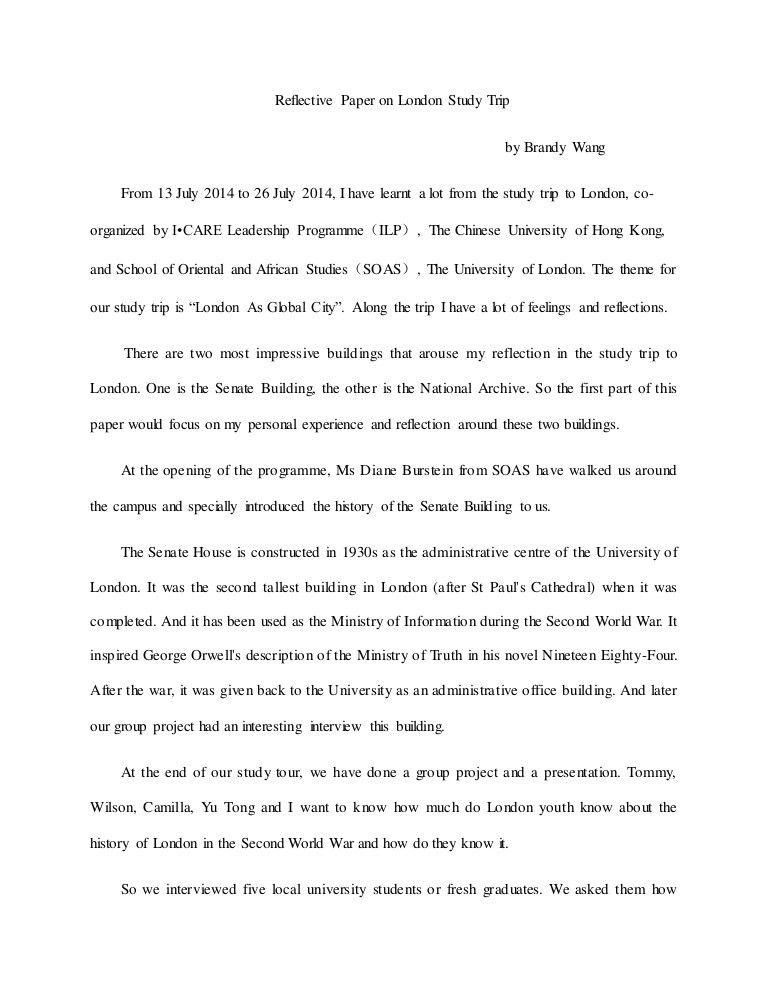 reflection paper on London Study Trip