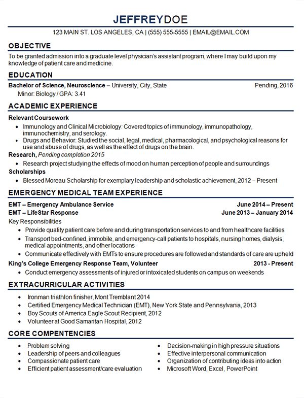 Medical Student Resume Example - Sample