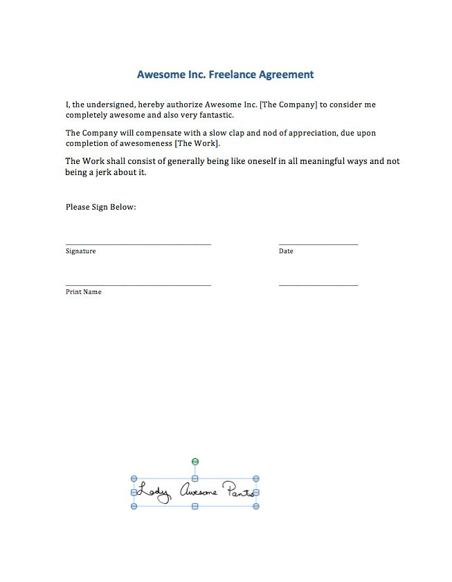 Signing Digital Contracts: Adding your signature to a MS Word File ...