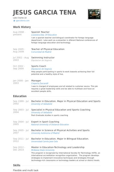 Spanish Teacher Resume samples - VisualCV resume samples database