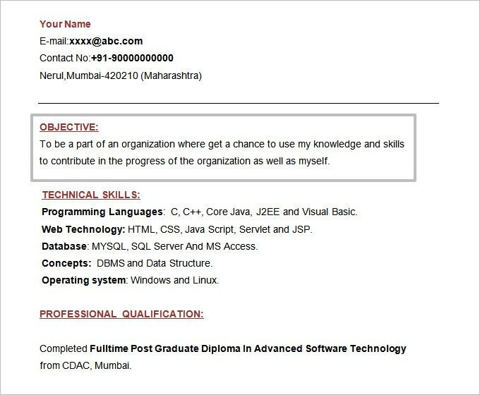Sample Resume Format For Freshers. Resume Formates Best Resume ...