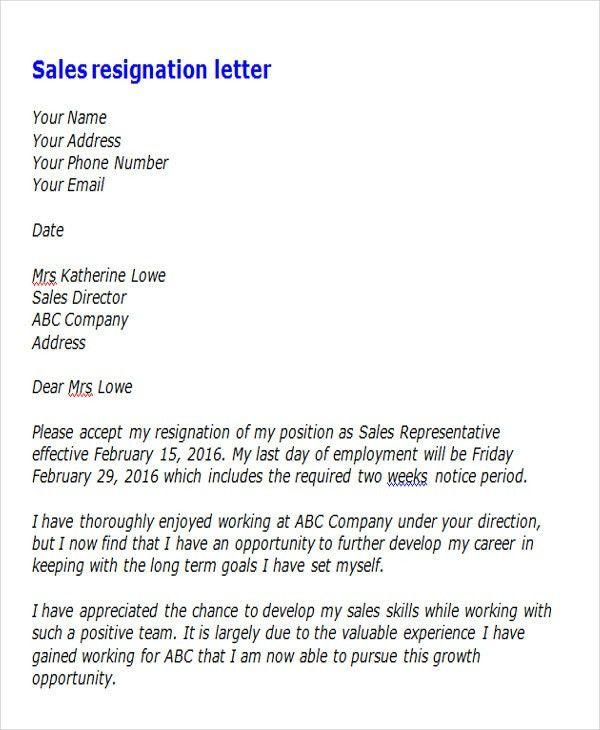 Sales Resignation Letter] Sales Assistant Resignation Letter Example