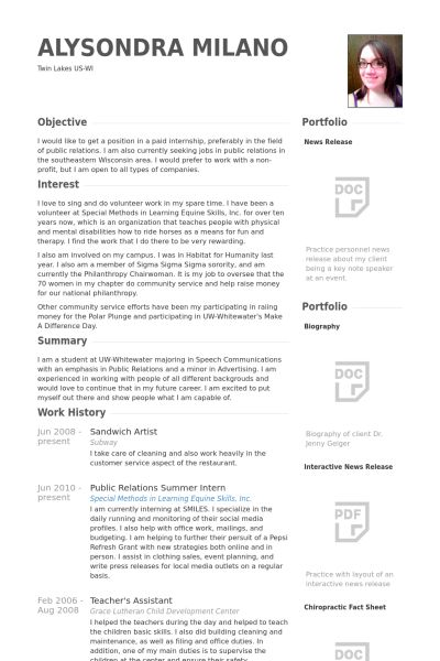 Sandwich Artist Resume samples - VisualCV resume samples database