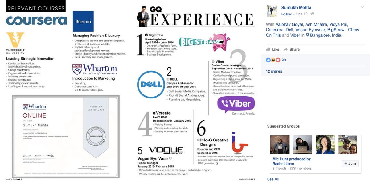 Guy's stunning GQ resume earned him an internship without an interview