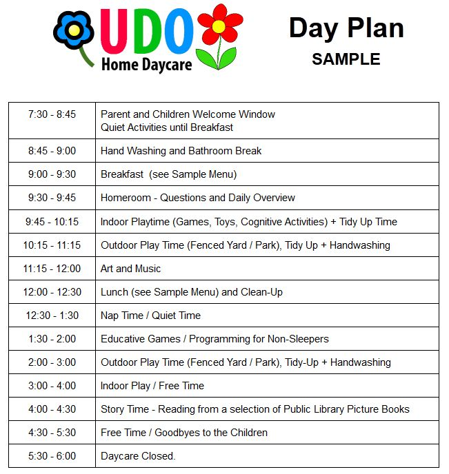 Sample Activity Plan - UDO Home DayCare Services – Toronto Daycare ...