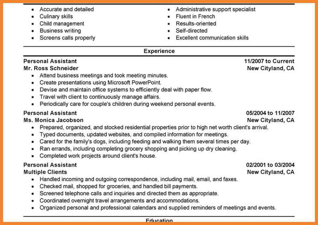resume example personal assistant personal care services executive ...