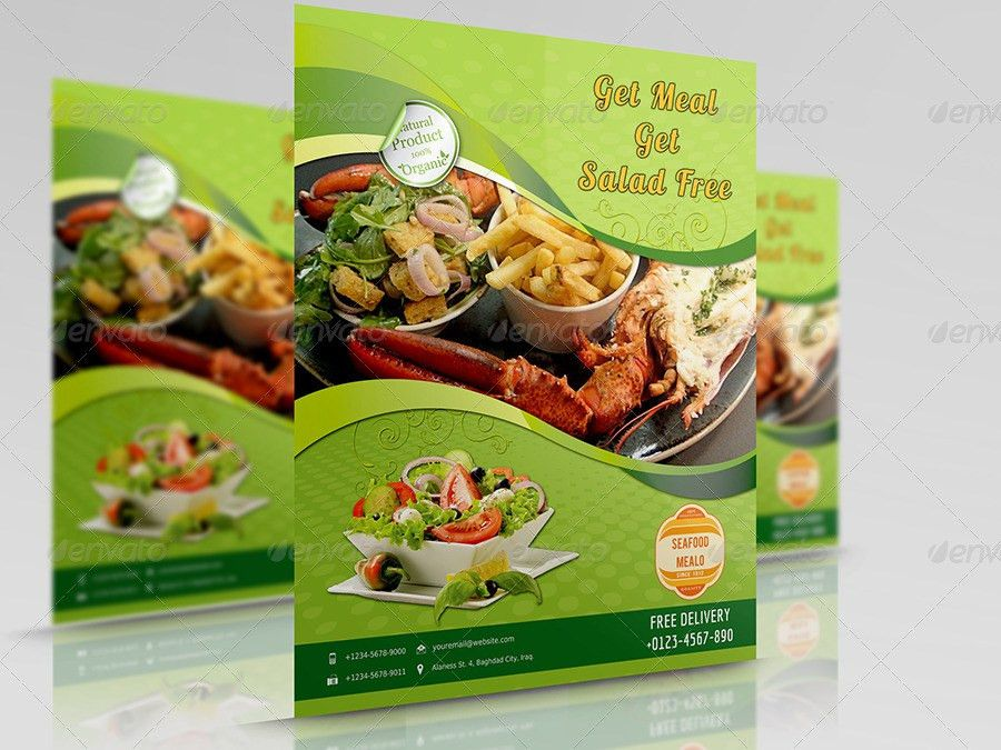 Seafood Restaurant Flyer Template by OWPictures | GraphicRiver