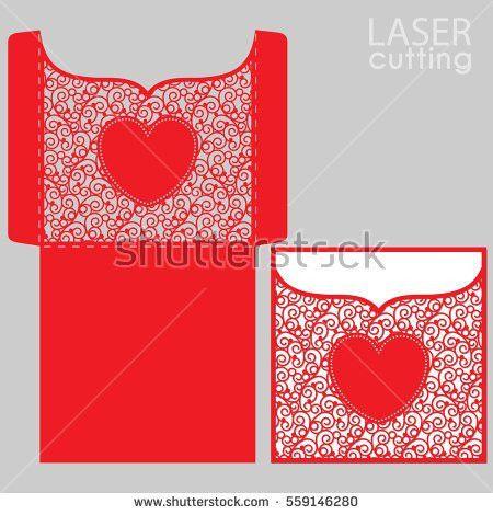 Pocket Envelope Template Die Cut Heart Stock Vector 360934847 ...