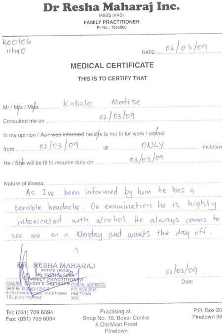 Medical Certificate For Sick Leave. Medical Certification For ...