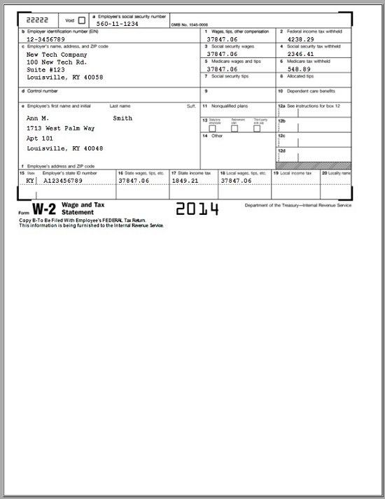 Sample W2 Tax Forms
