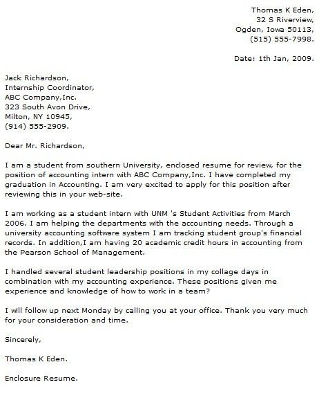 Cover Letters for Employment Sample Cover Letter For Internship ...