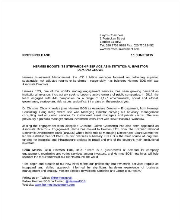 Press Release Template - 10+ Free Word, PDF Document Downloads ...