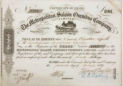 Share certificate of the Metropolitan Saloon Bus Company, 1857. at ...