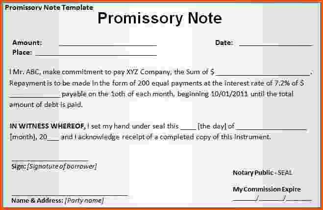 11+ promissory note template word | Survey Template Words