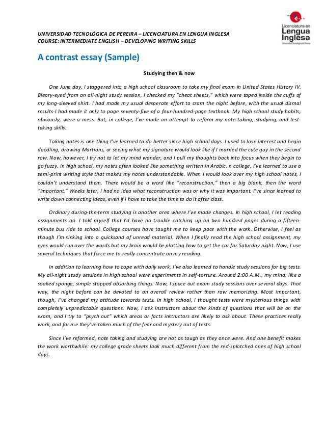 Contrast essay & outline (sample)
