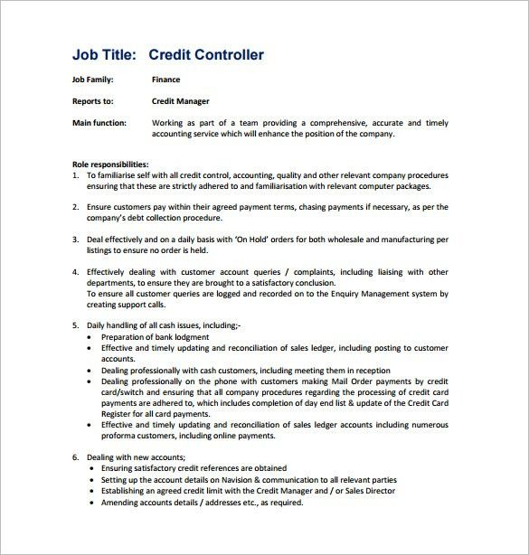 11+ Controller Job Description Templates - Free Sample, Example ...