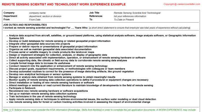 Remote Deposit Capture CV Work Experience Samples