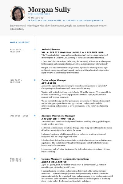 Artistic Director Resume samples - VisualCV resume samples database