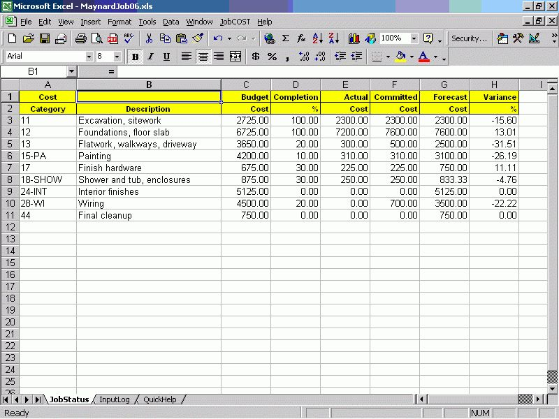 Job Cost Controller For Excel. Contractor Management Software