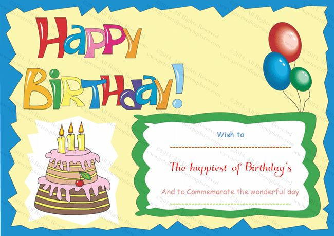 birthday gift certificate template for word - Template