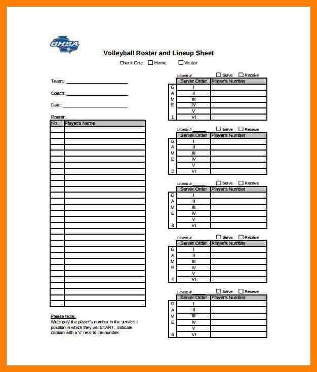 Volleyball Roster Template. Attendance Sheet 02 38 Free Printable ...