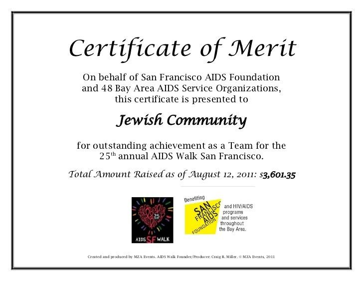 Aids walk certificate of merit 2011 jewish community