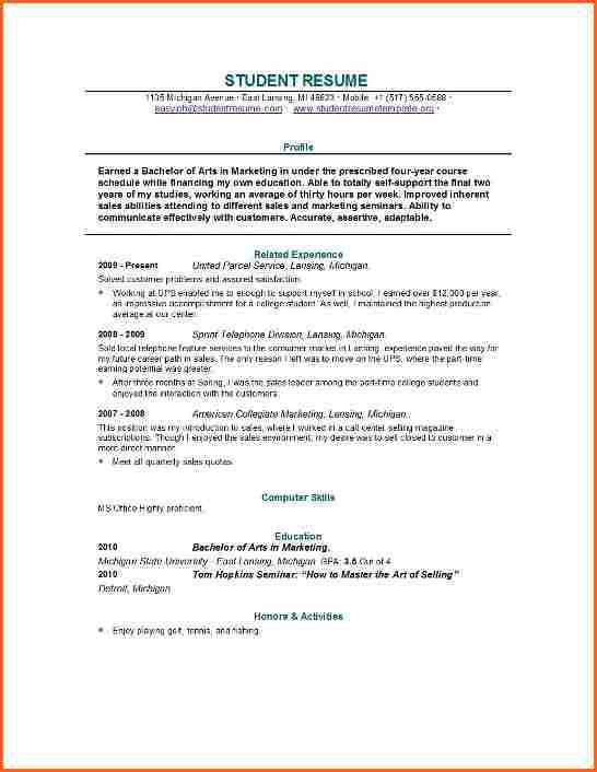 7 sample college student resumes - Budget Template Letter