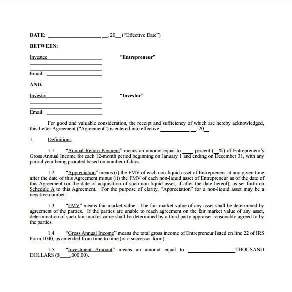 Amazing Investor Contract Sample Investors Agreement Investor Contract Agreement  Form With Sample Investment Contract Template 7 Free