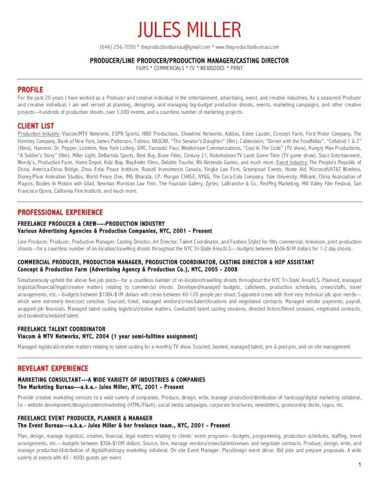television associate producer resume cipanewsletter. production ...