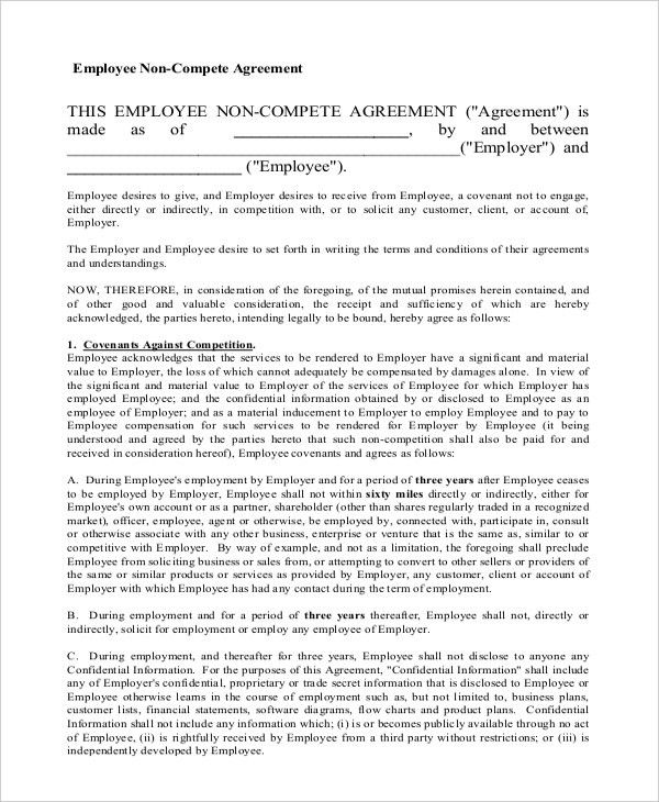 11+ General Non-Compete Agreement Templates - Free Sample, Example ...