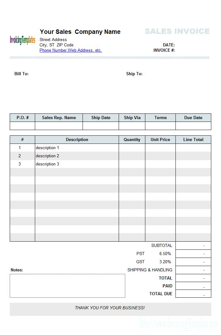 Sample Sales Invoice Template 2