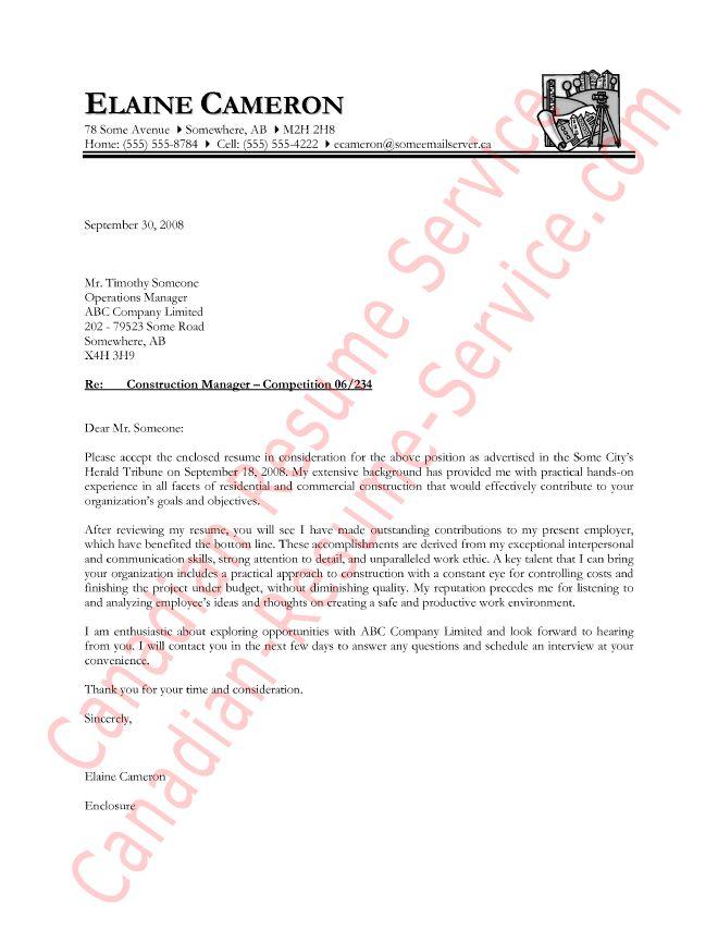 Sample Cover Letter For Canadian Resume | Docoments Ojazlink