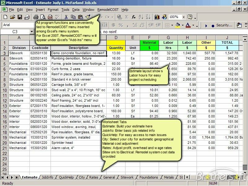 Download Free RemodelCost Estimator for Excel, RemodelCost ...