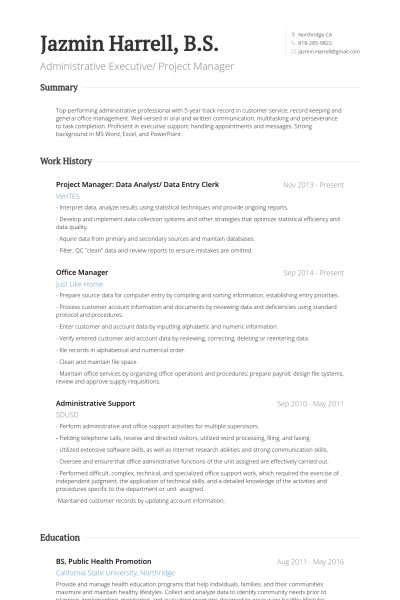 Data Entry Resume samples - VisualCV resume samples database