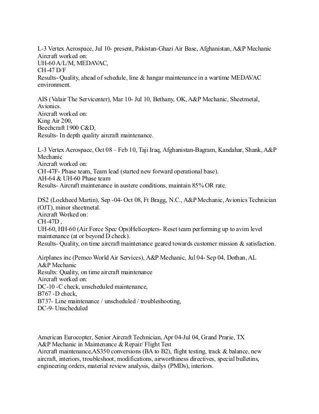 Uh 60 Mechanic Sample Resume Uh 60 Mechanic Sample Resume
