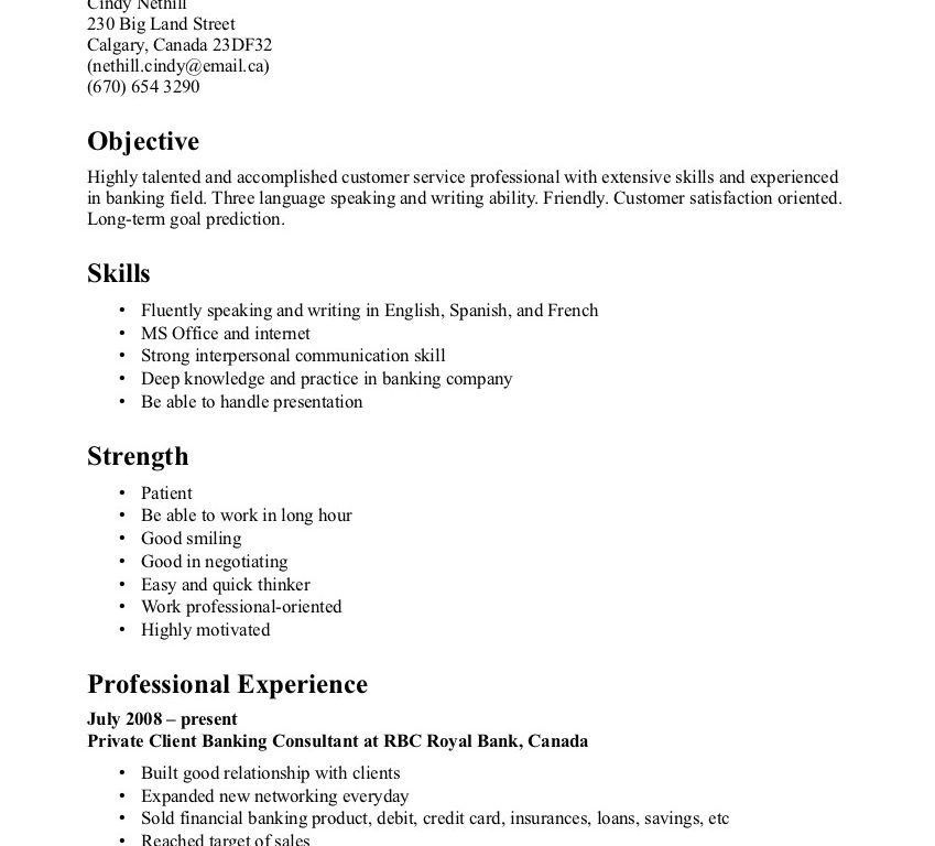 Strikingly Idea Entry Level Customer Service Resume 9 Banking ...