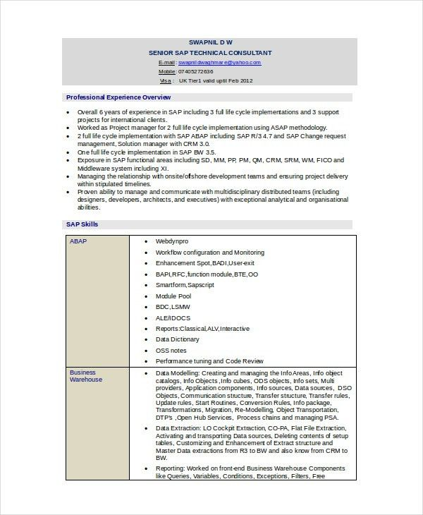 Technical Resume Template - 6+ Free Word, PDF Document Downloads ...