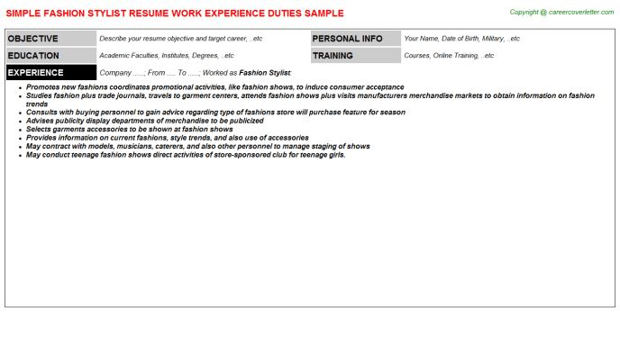 Fashion Stylist Job Title Docs