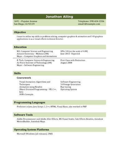 Resume Template for IT Graduate | Resume Templates and Samples ...