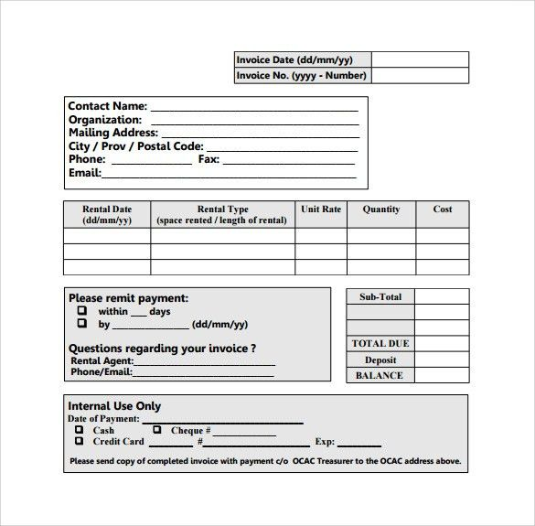 Sample Rent Invoice Templates - 8+ Download Free Documents in PDF ...