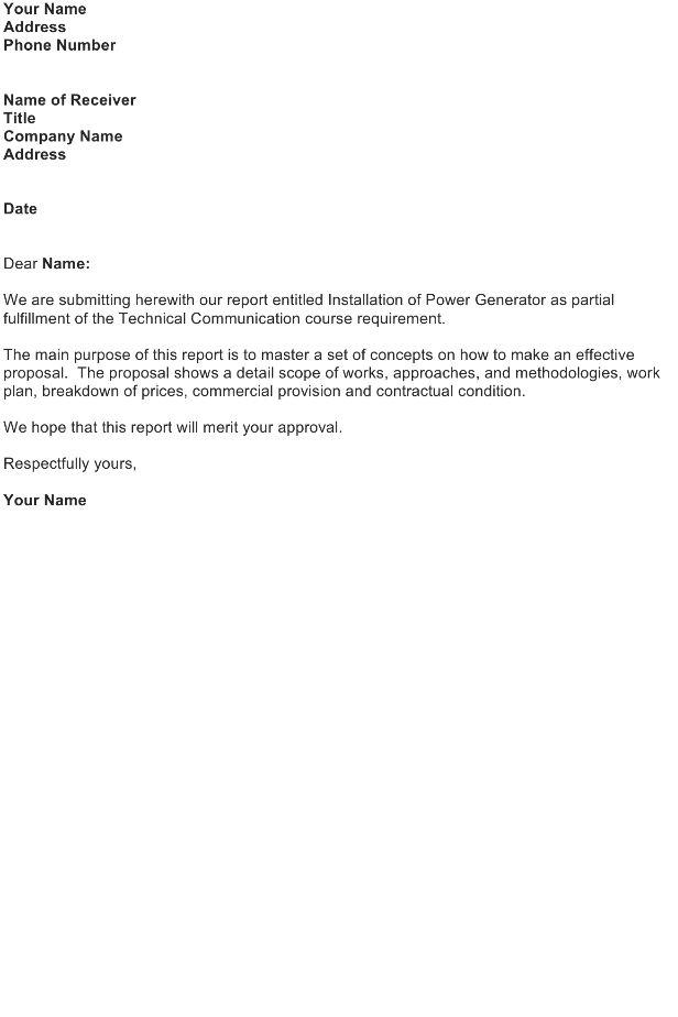 Transmittal Letter – Proposal / Report