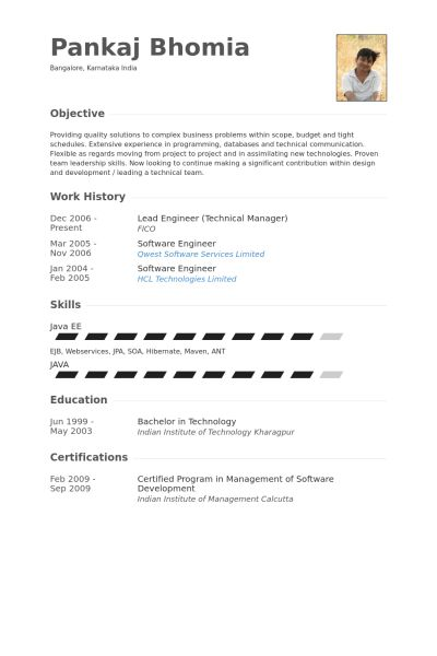 Lead Engineer Resume samples - VisualCV resume samples database