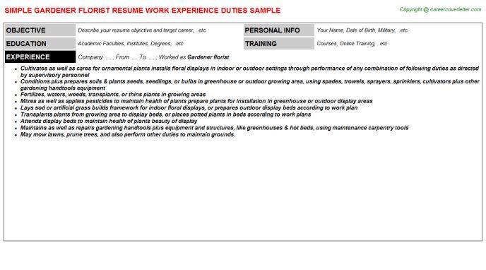 Gardener Florist Job Title Docs