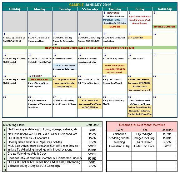 FREE DOWNLOAD of 2015 Marketing Calendar Template in Excel for ...
