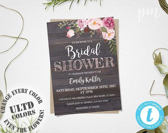 Rustic Floral Bridal Shower Invitation Template Printable