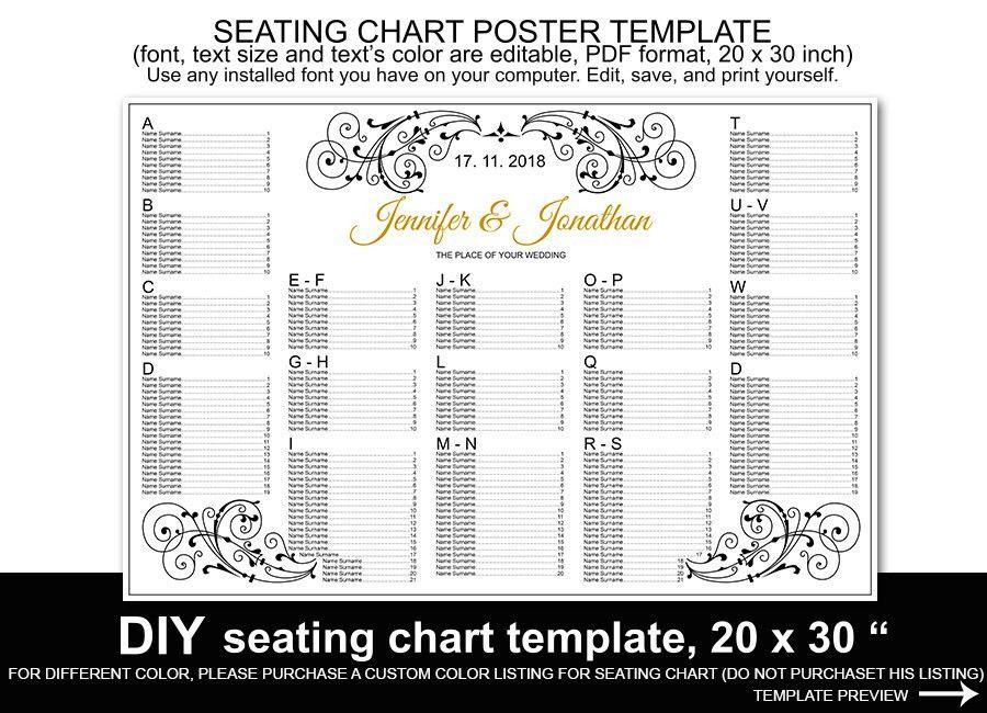 Wedding Seating Chart Poster Template Word – Mini Bridal