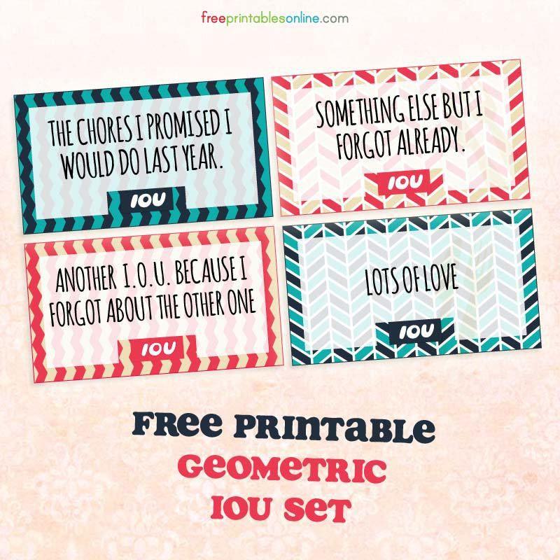 Geometric Printable IOU Coupons | Free Printables Online