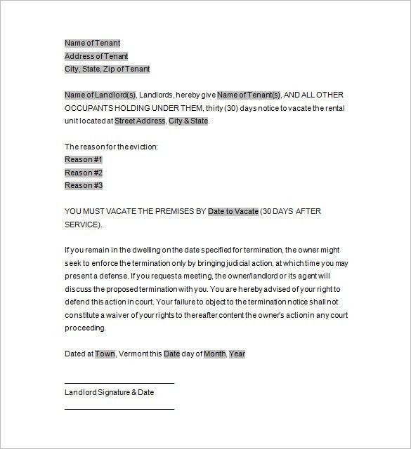 Eviction Template – 12+ Free Word, Excel, PDF, Format Download ...