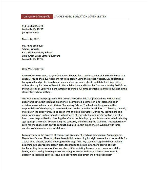 music teacher cover letter letter of recommendation music business ...
